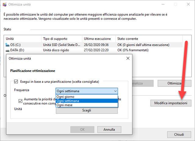 pianificare ottimizzazione e deframmentazione di windows