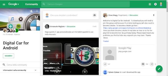 Digital Car - Applicazione Android - Google+ pagina