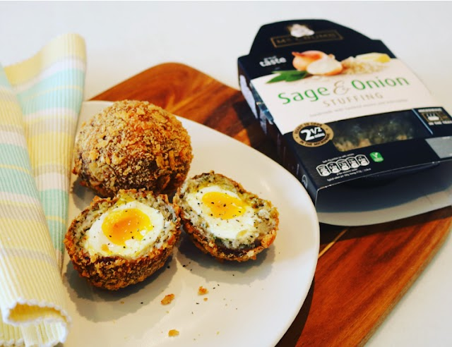 Scotch Eggs made with Mr. Crumb Stuffing