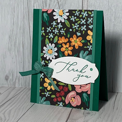 Stampin' Up! Floral Thank You Card using Flower & Field Designer Series Paper