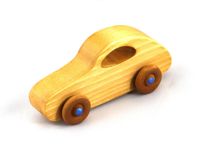Handmade Wooden Toy Car Classic 1957 Bug Play Pal Amber and Metallic Blue Hubs
