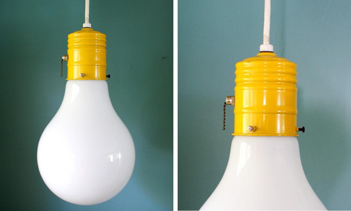 5 Vintage Yellow Bulb Pendant Light