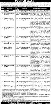 Public Sector Organization PO Box No 782 Jobs 2021 Peshawar