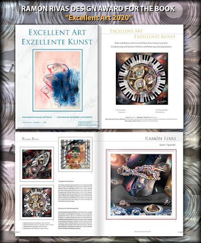 """Libro """"Arte Excelente 2020"""". Página del Título y 4 Obras   del artista premiado Ramón Rivas"""