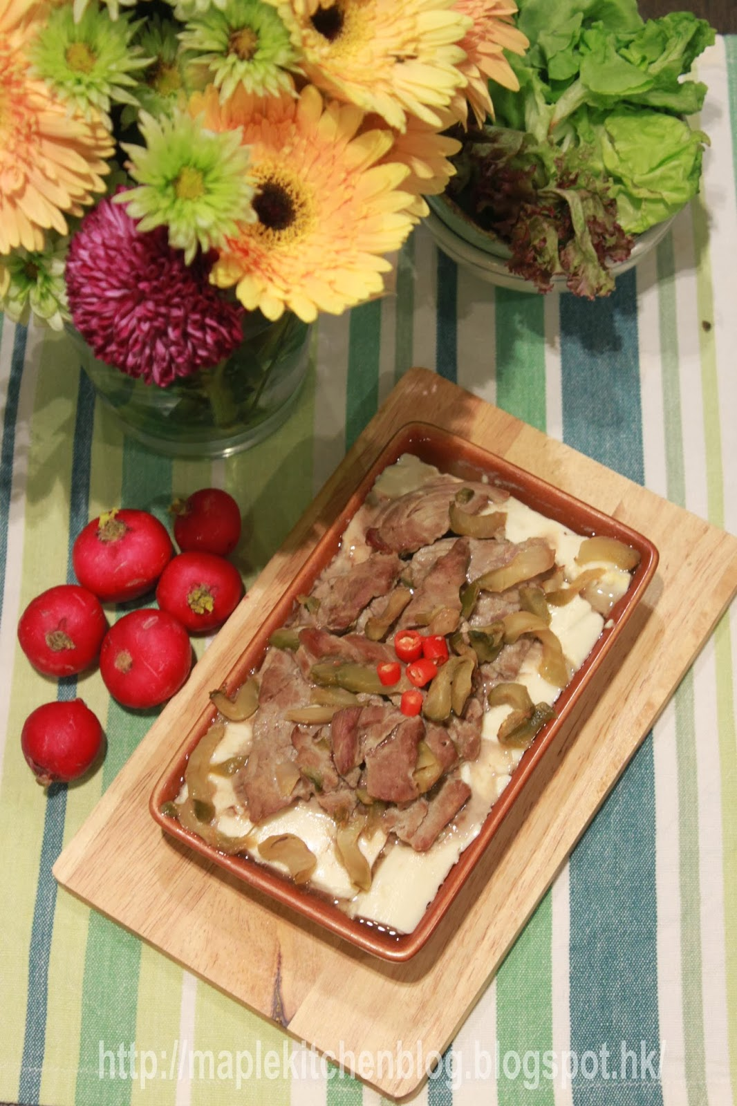 大蚊廚房 : 榨菜牛肉蒸豆腐 (蒸焗爐食譜)