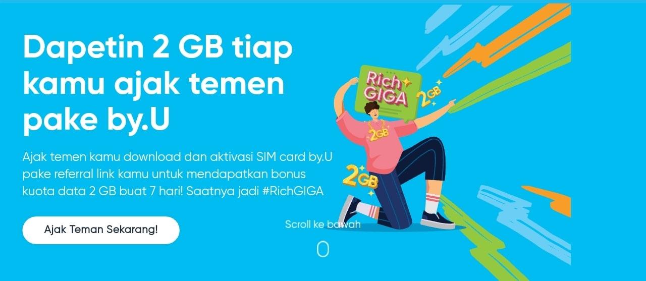 Cara Mendapatkan Kouta Gratis 2GB by.U