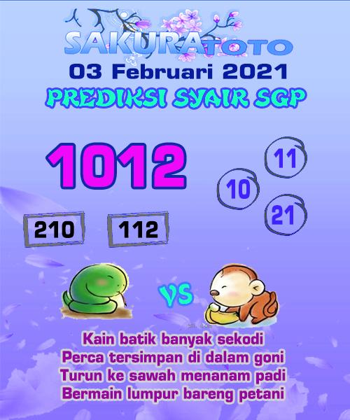 Syair Sakuratoto SGP Rabu 03 Februari 2021