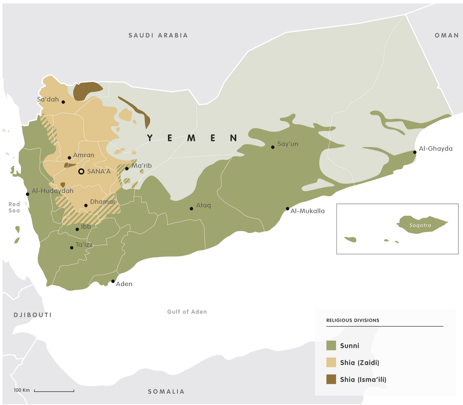 as you can see sunnis form the majority of the population and are located along the cost of the nation zaidi shiites predominate in the northern highlands
