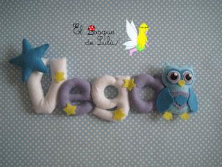 nombre-fieltro-Vega-elbosquedelulu-hechoamanoparati-fieltro-felt-feltro-buho-name-banner-decoración-infantil-regalo-personalizado-nacimiento-babyroom