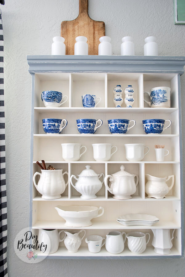 display antique ironstone and blue and white transferware