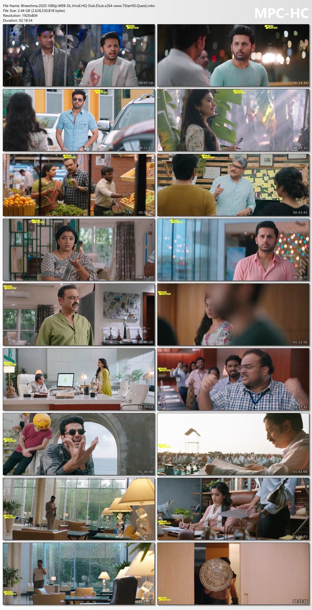 Bheeshma (2020) Hindi Dubbed 1080p HDRip 2.5GB ESubs Download