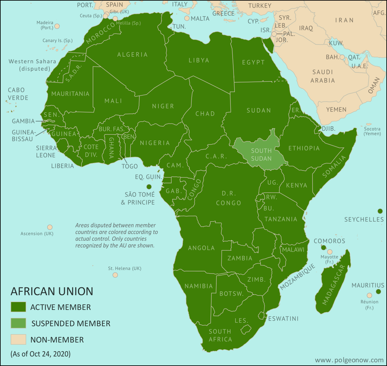 African Union: Map of Africa showing which countries are in the African Union in 2020, including active and suspended member countries and non-member territories. Updated for the October 2020 reinstatement of Mali (colorblind accessible).