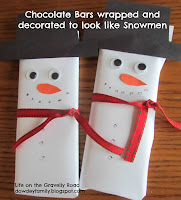 snowman gift - wrapped chocolate bar, decorated to look like a snowman