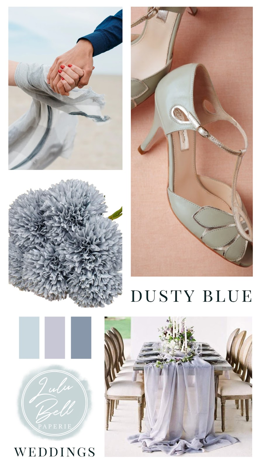 Dusty Blue Mint and Lavender Wedding Color Palette Inspiration