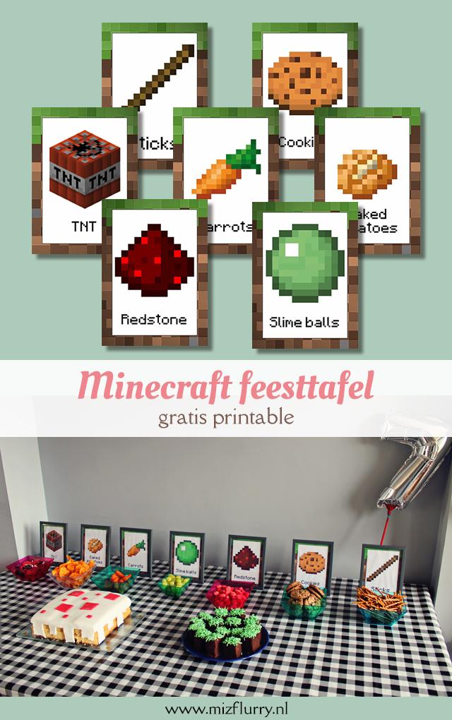minecraft feesttafel gratis printable