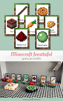 minecraft feesttafel gratis printable pinterest