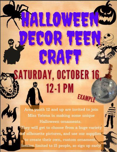 10-16 Barbara Moscato Library Halloween Teen Craft