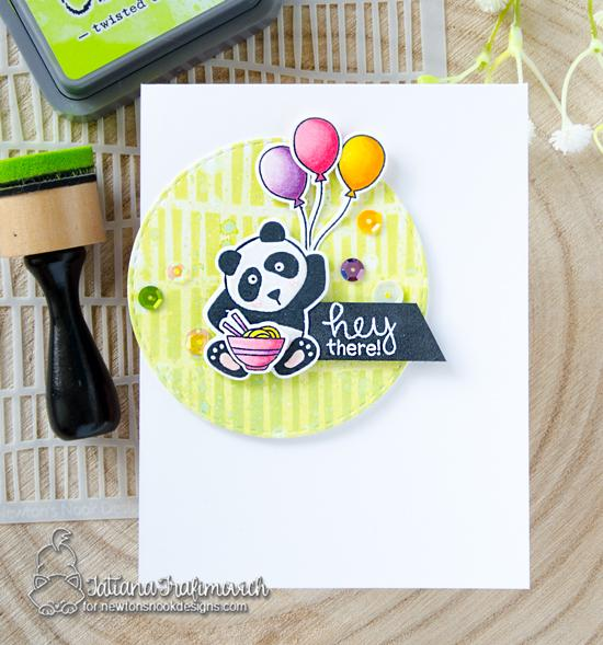 Panda Card by Tatiana Trafimovich | Playful Pandas Stamp Set and Serene Stripes Stencil by Newton's Nook Designs #newtonsnook #handmade