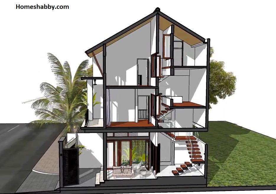 Desain Dan Denah Rumah Mewah Ukuran 5 X 10 Split Level Cocok Untuk Daerah Perkotaan Homeshabby Com Design Home Plans Home Decorating And Interior Design