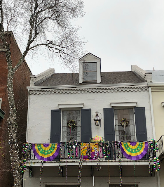 Mardi Gras decorations on a house