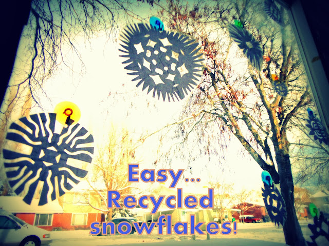 Recycled window Snowflakes!