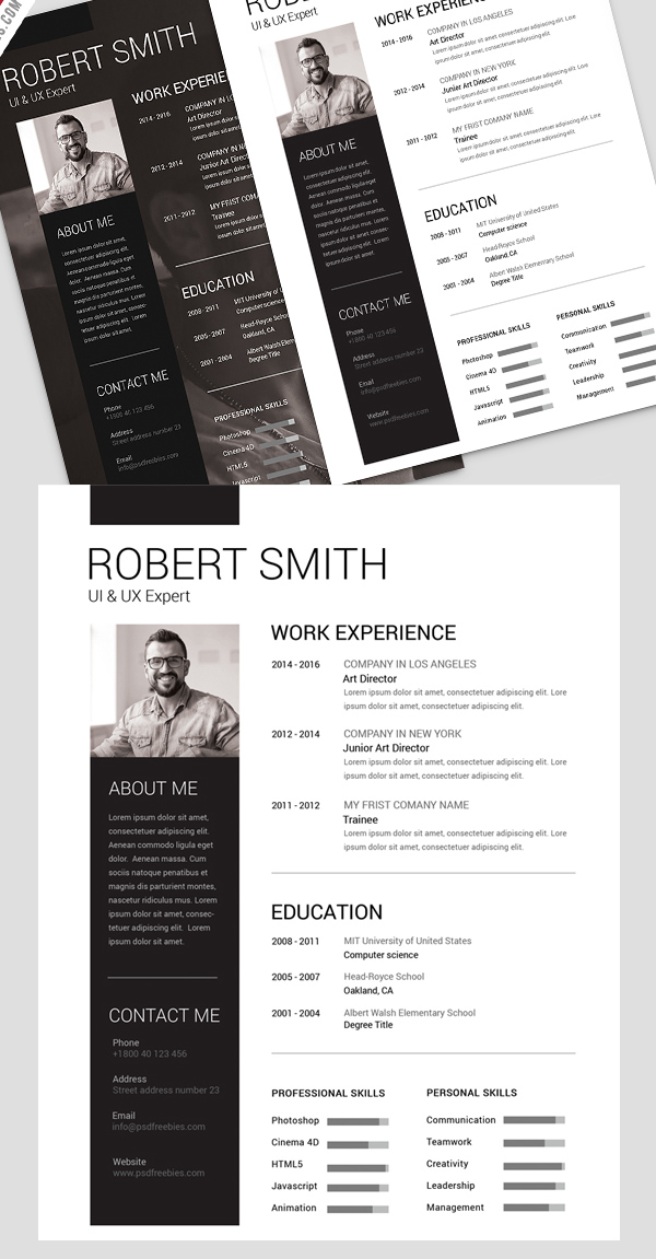Simple and Clean Resume Free PSD Template Freebies PSD - clean resume template