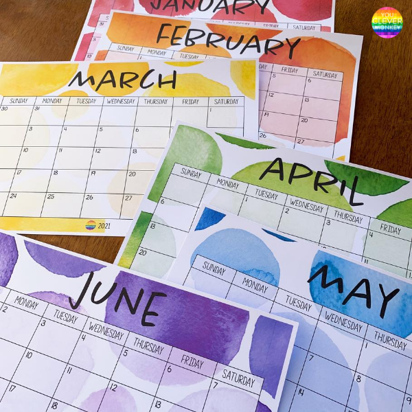WATERCOLOR PAINT Simple Calendar | you clever monkey