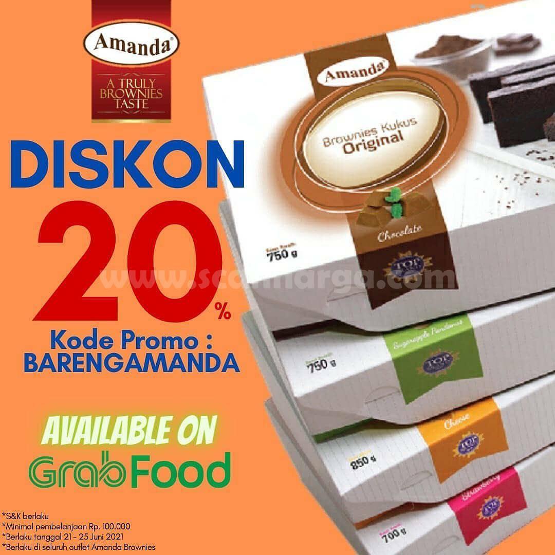 Promo AMANDA BROWNIES DISKON 20% khusus pemesanan via GRABFOOD