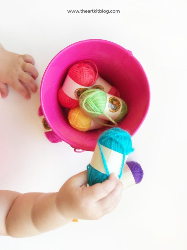 activities for babies - yarn transfer activity