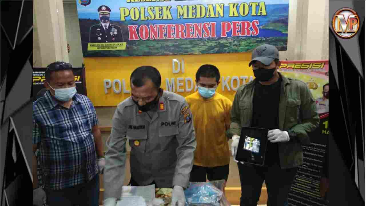 Ludahi Petugas PLN, Mhd Reza Warga Jalan Halat Gol di Polsek Medan Kota