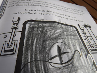 picture of a page within Escape This Book: Titanic of a bulkhead door drawn by a child