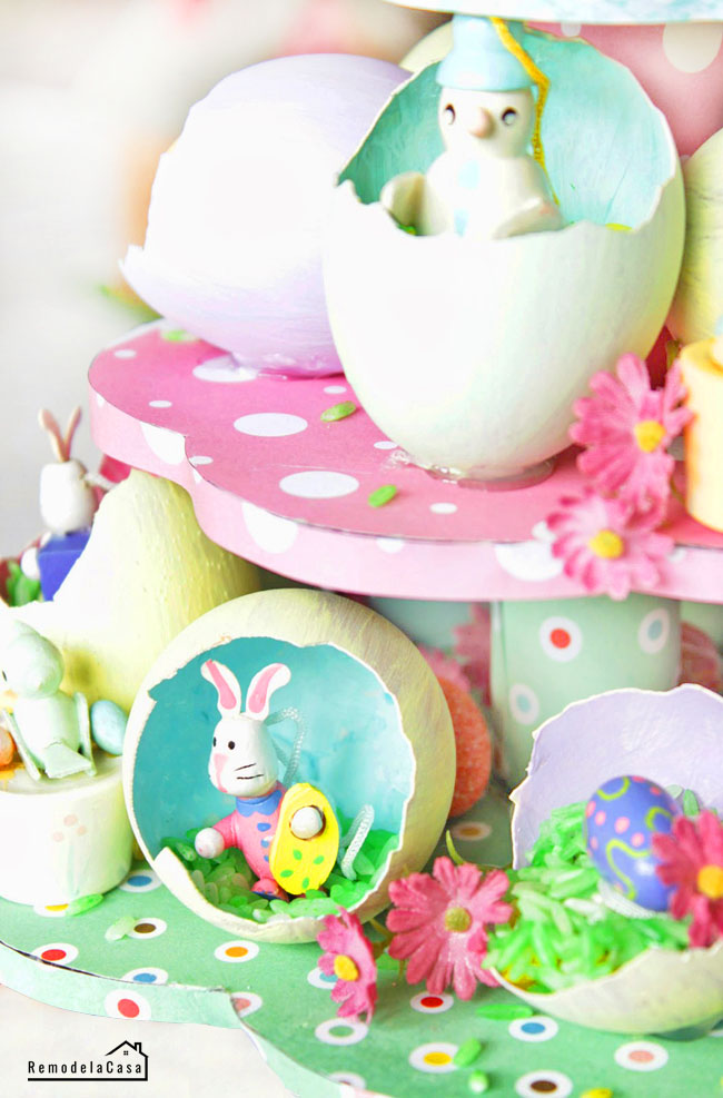 small rabbit, bird and flowers inside egg shells for Eas/ter egg tree centerpiece