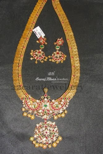Kasu Mala With Pachi Flower Locket Jewellery Designs