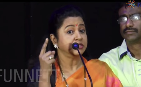 Actress Radhika trolls MK Stalin in front of Udayanidhi