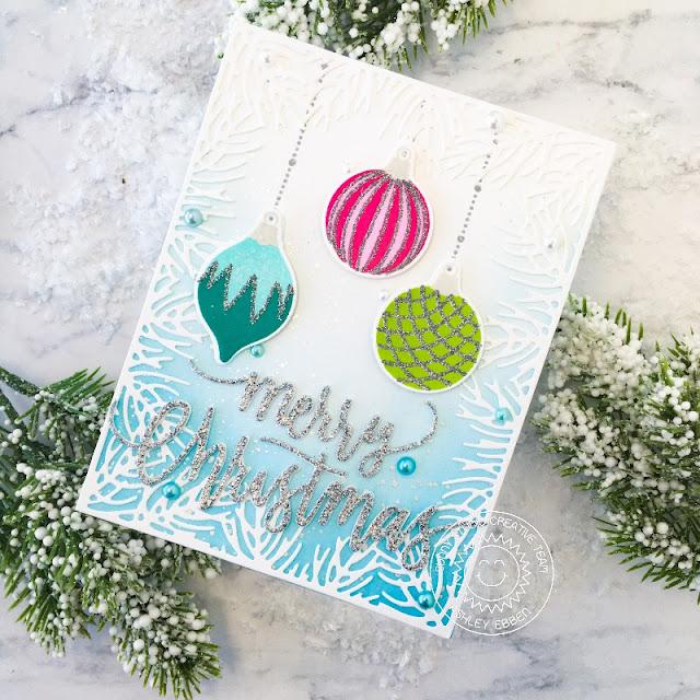 Sunny Studio Stamps: Retro Ornaments Christmas Garland Frame Christmas Card by Ashley Ebben