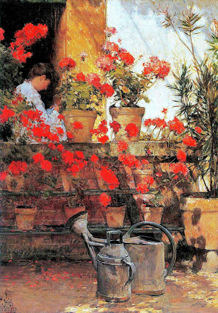 Childe Hassam red flowers