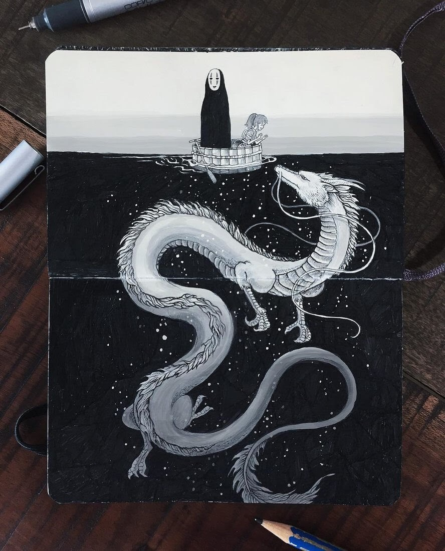 02-Kohaku-River-Spirited-Away-Kerby-Rosanes-Free-Hand-Detailing-and-Doodling-www-designstack-co