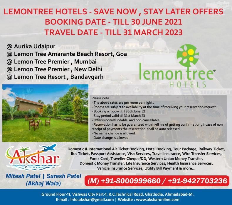 Lemon Tree Hotels - Save Now - Stay Later   aksharonline.com
