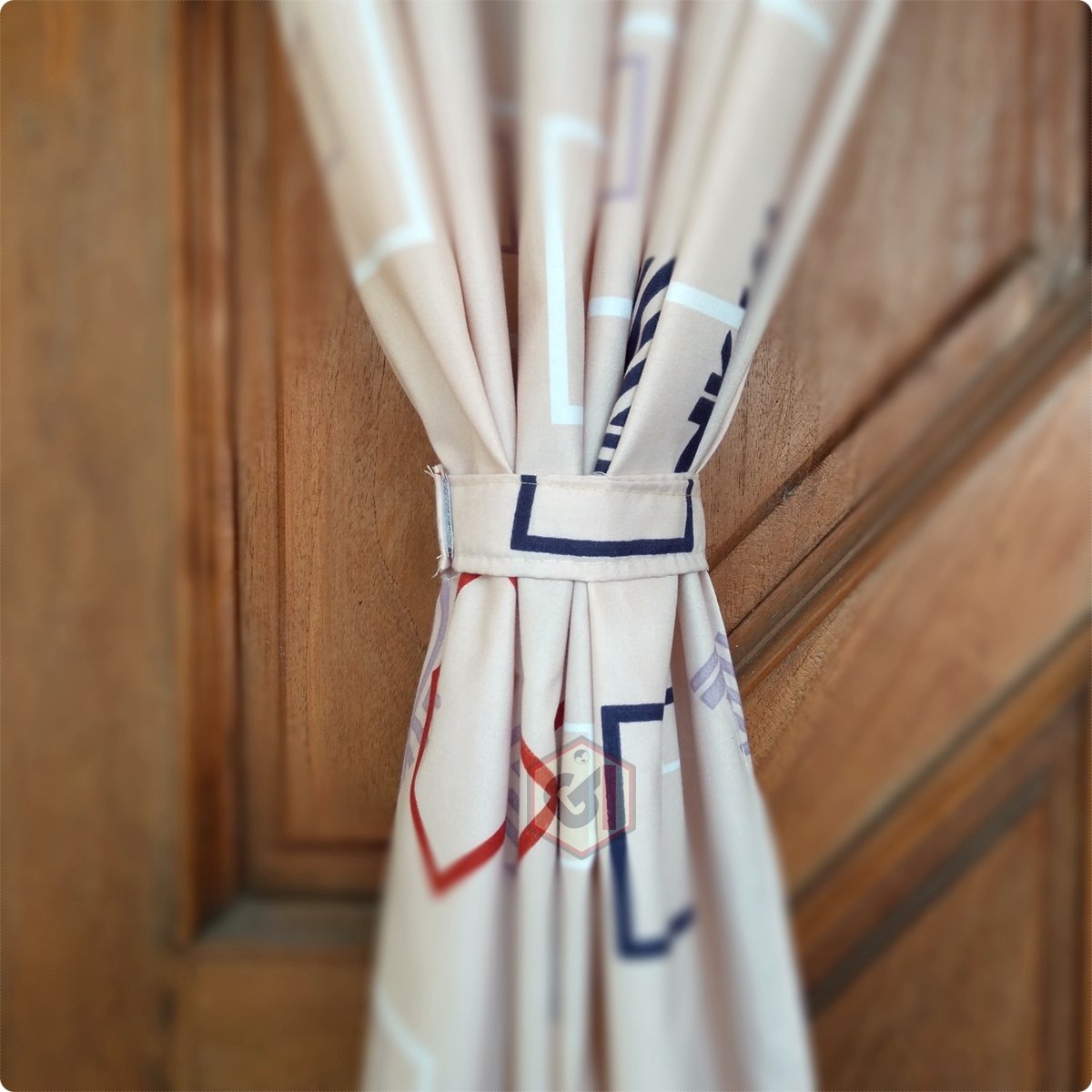 Gorden Pintu Rumah Motif Line Elegan Model Smokring 12 Ring Ukuran Panjang Murah