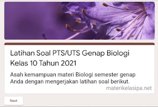 Latihan Soal PTS/UTS Genap Biologi Kelas 10 Tahun 2021