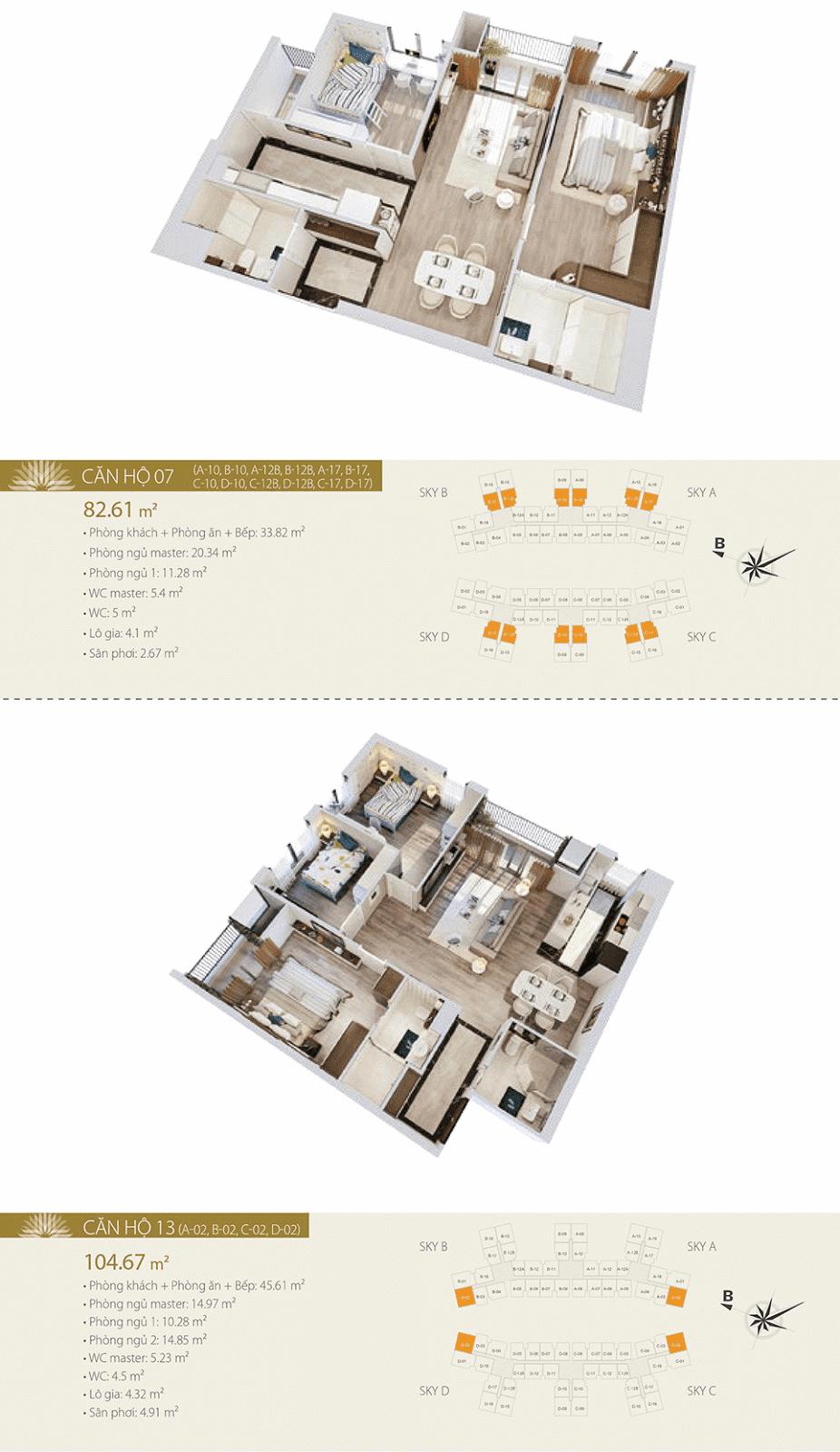 Mặt bằng chi tiết căn hộ 07 và 13 - Imperia Sky Garden