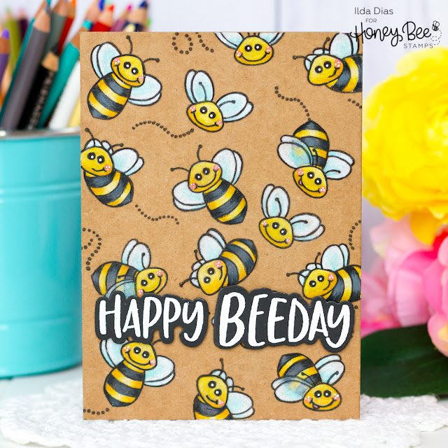 Repeat Stamping and Coloring with Pencils on Kraft for Honey Bee Stamps by ilovedoingallthingscrafty.com