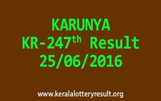 KARUNYA Lottery KR 247 Result 25-6-2016