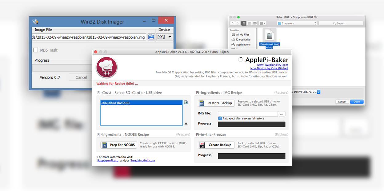 Win32 Disk Imager alternative for Mac (How to use Apple-Pi