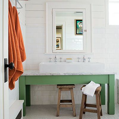 Of Bright Green And Modern Trough Sink Perfect For A Kids Bathroom