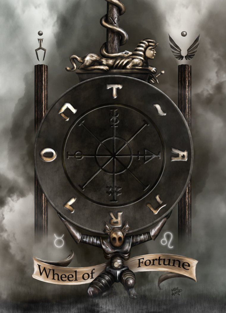 Wheel Of Fortune Tarot Card On Isolate Background Stock: Man In The Maze: THE WHEEL OF FORTUNE