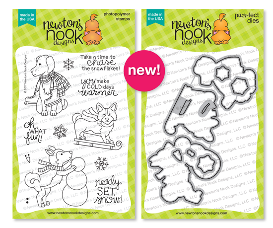 Winter Woofs Stamp Set & Coordinating Die Set by Newton's Nook Designs #newtonsnook