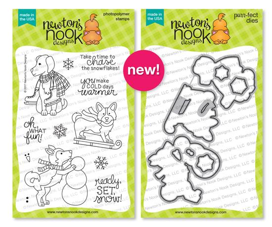 Winter Woofs Stamp Set & Coordinating Die Set by Newton's Nook Designs #newtonsnook
