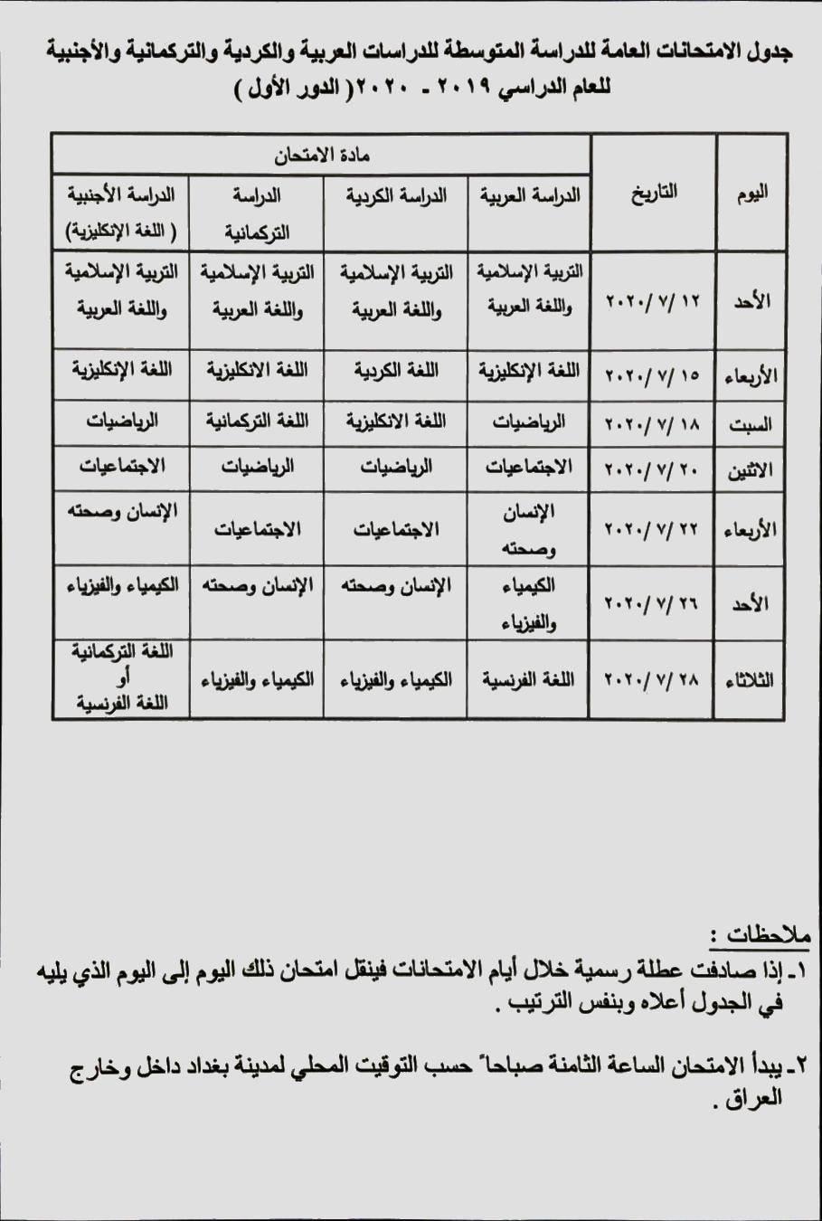 جدول امتحانات الصف الثالث المتوسط الدور الاول 2020 وزارة التربية العراقية 95781889_1475997572608918_2255526286225047552_o