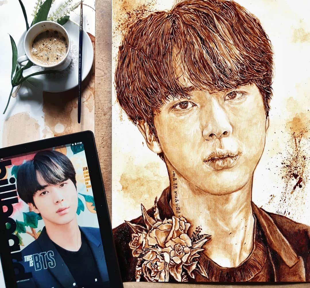 08-Jin-from-BTS-Nuria-Salcedo-Detailed-Portrait-Paintings-Using-Coffee-www-designstack-co